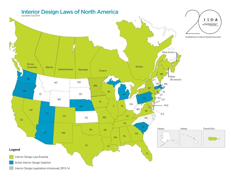 States, Territories and Provinces With Interior Designer Licensure  Requirements